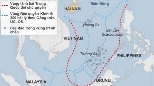 Bản đồ với đòi hỏi của Trung Quốc trên Biển Đông