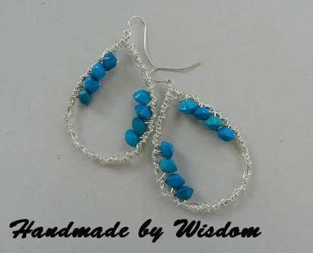 Silver Wire Wrapped Earrings with Turquoise Beads
