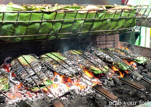 Banana leaf charcoal fish and chicken at Hai Au Lang Nuong Canley Vale