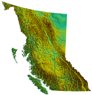 Physical map of British Columbia