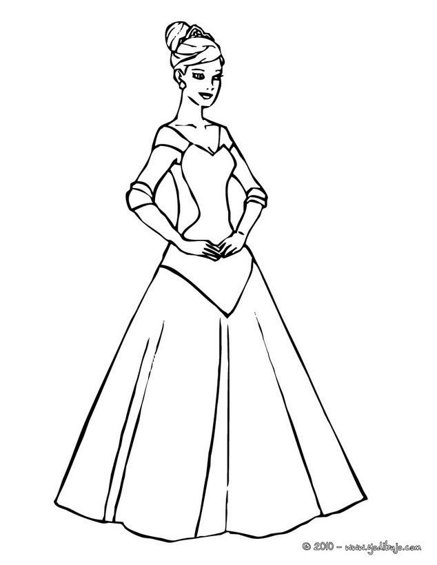 Dibujos Para Colorear Lujoso Vestido De Princesa Es Hellokids Com