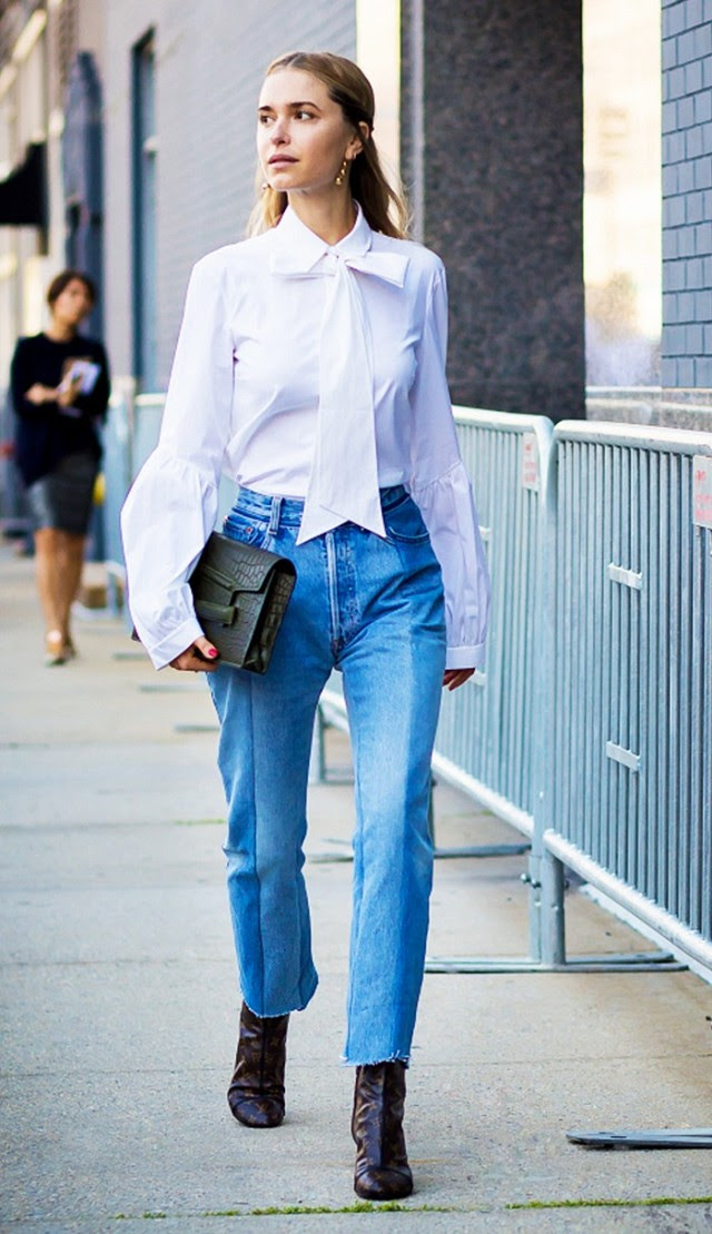 bow blouse-cropped jeans and booties-frayed denim-hemlines-hems -mom jeans-work outfits-night out-giong out