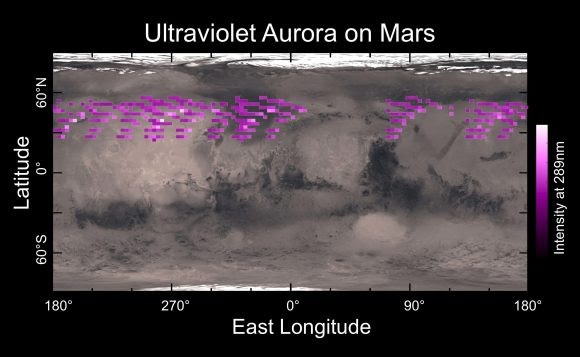 Map of the UV aurora detected on Mars in Dec. 2014 (University of Colorado)