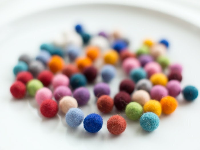 50 felt wool balls (1/2 in. size) red green brown black yellow grey blue pink purple white