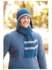 Man's Basic Ear Flap Beanie & Scarf - Electronic Download
