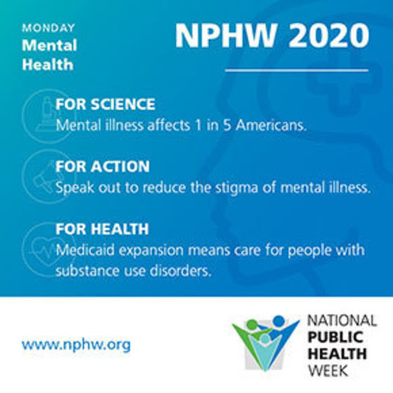 NPHW 2020. Monday: Mental Health - For Science, For Action, For Health