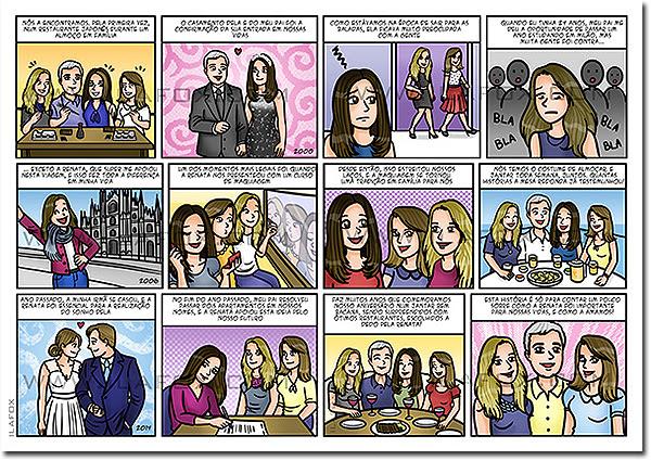 quadrinhos personalizados, quadrinhos divertidos, quadrinho presente, quadrinhos história família, quadrinhos presente inesquecível, by ila fox