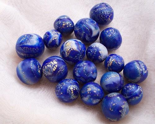 Faux Polymer Clay Lapislazuli Beads