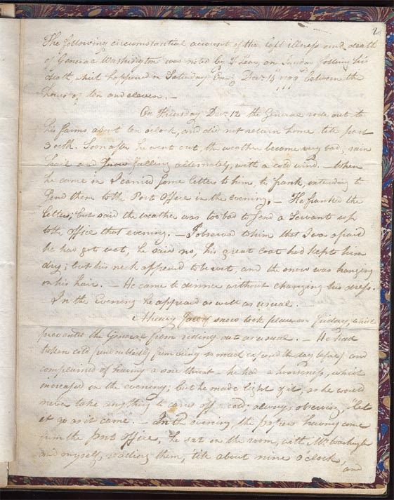 The president's chief aide Col. Tobias Lear wrote a 12-page account of Washington's demise. Photo from the Clements Library at the University of Michigan