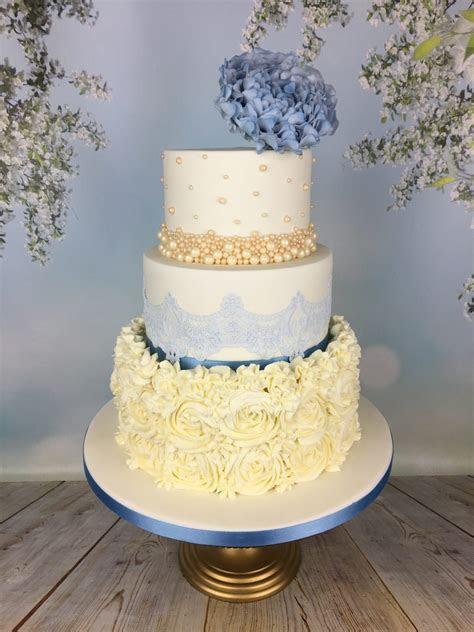 Blue and cream buttercream rosette wedding cake   Mel's