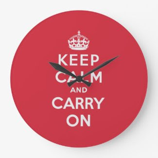 Keep Calm And Carry On Round Wall Clocks