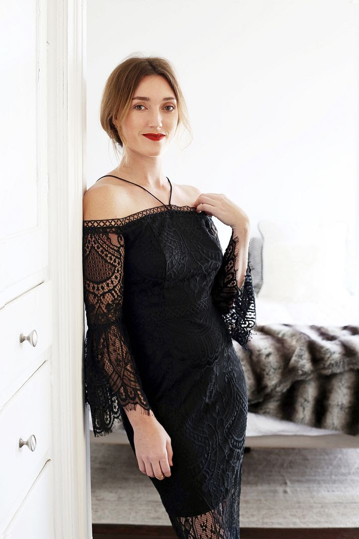 New Years Eve Party Outfit Ideas Updo Hair Red Lipstick KLab Off The Shoulder Black Lace Dress Kohls Photographer Erin Pederson Model Katie Wohlers Styling Jenn Camp Le Fashion Blog