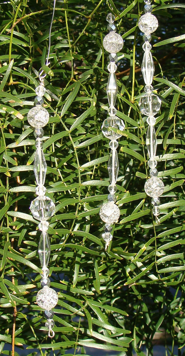 Set of Three Sparkling Crystal Icicle Ornaments