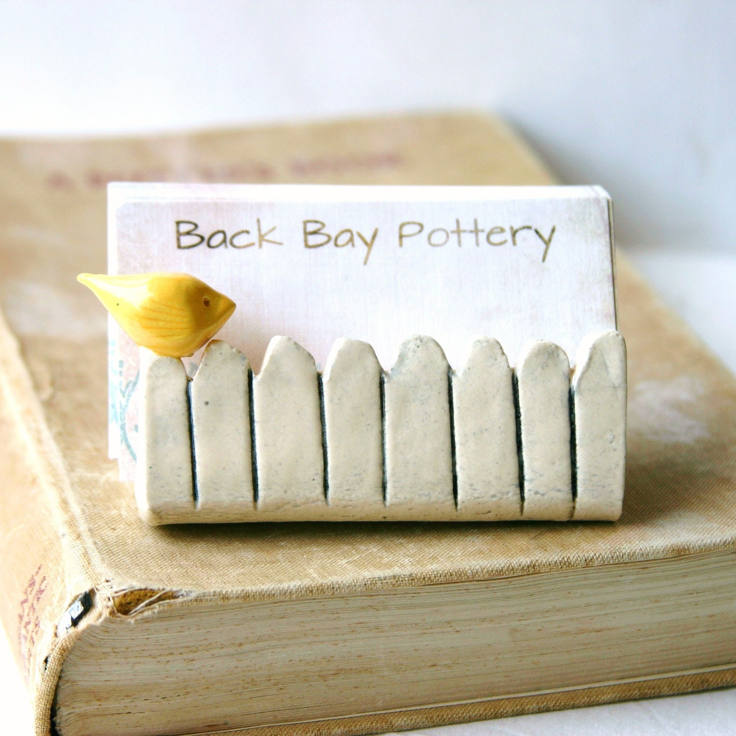 Little Bird On a White Picket Fence - Ceramic Business Card Holder - Light Yellow