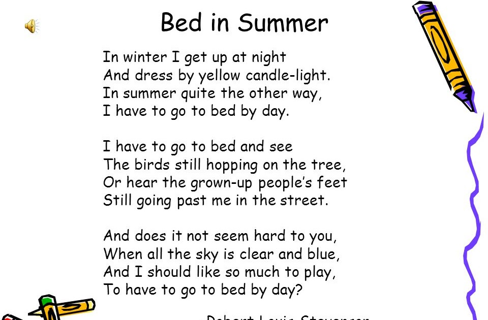 35 Meaning Of Poem Bed In Summer