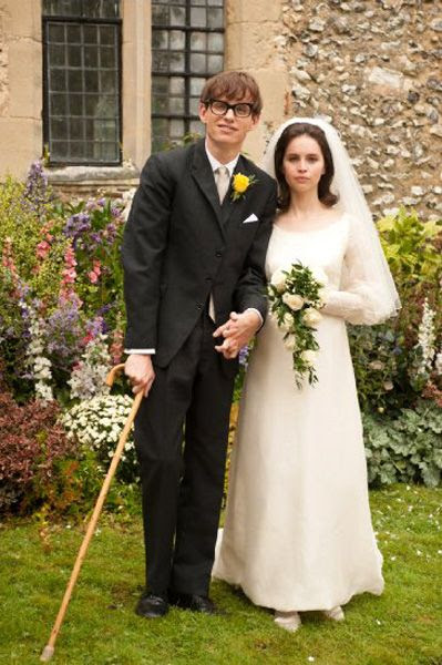 Stephen Hawking and Jane Wilde Hawking pose for a wedding photo after the two get married in THE THEORY OF EVERYTHING.