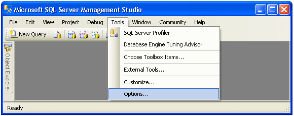 go to tools in ssms