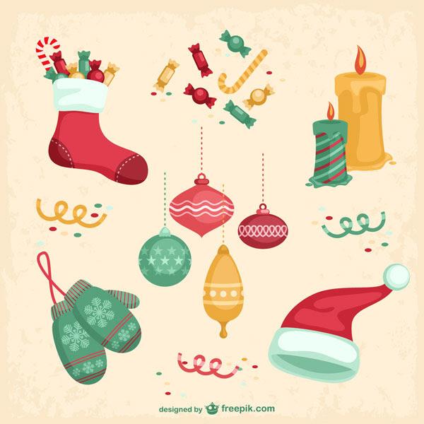 無料素材 靴下やプレゼントのお菓子にミトンなどクリスマスアイテムの