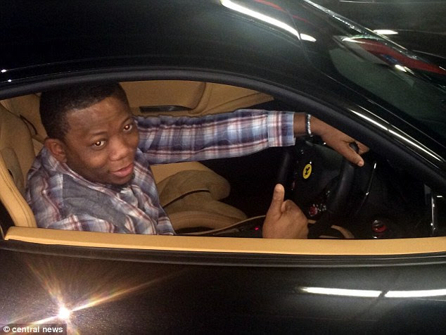 The Nigerian national received around £1million from the scam and blew the money on luxury cars, gold jewellery and expensive champagne at top nightclubs in London. Pictured is Nwaofor in a Ferrari