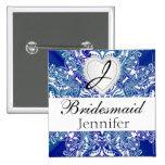 Monogram Bridal Party Royal Blue Satin Design 2 Inch Square Button