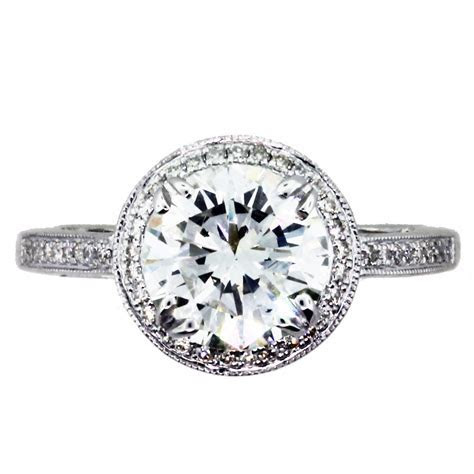 2 Carat Round Diamond Halo Setting Engagement Ring Boca Raton