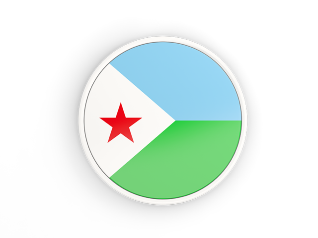 Round Icon With White Frame Illustration Of Flag Of Djibouti