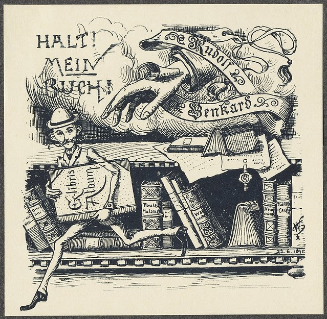 fun, engraved bookplate scene - man running with book, hand reaching after him