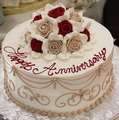 Red Yellow Flowers Anniversary Cake Fondant Cakes
