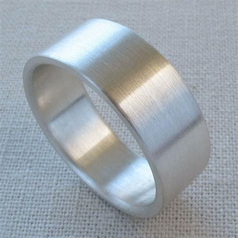 Men's Sterling Silver 8x1.5mm Ring   Wide, Flat, Fat