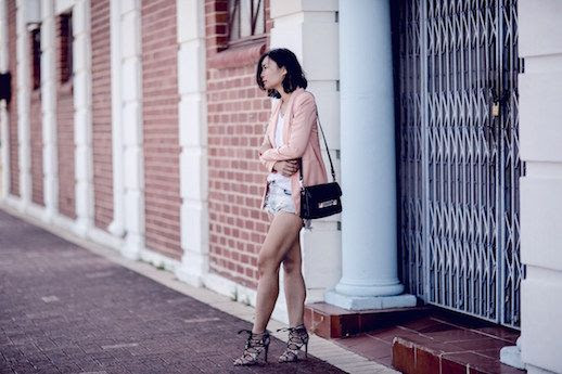 Le Fashion Blog Pink Blazer Denim Shorts Sandals White Tee Shirt Spring Blogger Via Beige Renegade