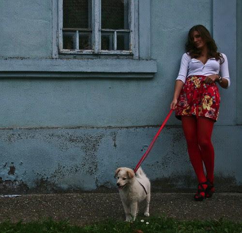 Woman & dog.