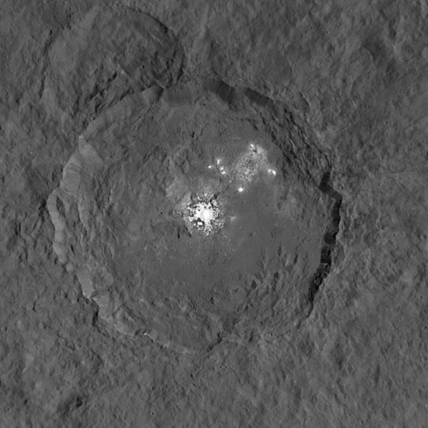 An images of Ceres' Occator crater and its mysterious bright spots...taken by NASA's Dawn spacecraft.