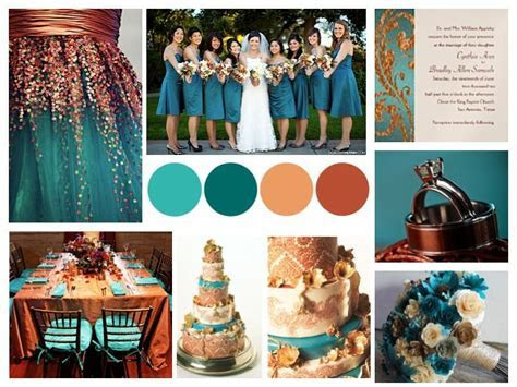 teal and copper wedding   except it would be mainly cream