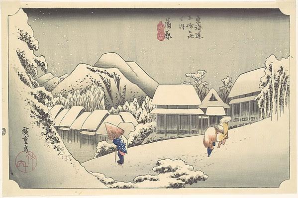 Evening Snow at Kanbara, from the series