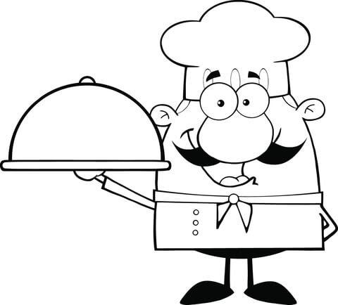 Dibujo De Cocinero Llevando Un Plato Para Colorear Dibujos Para