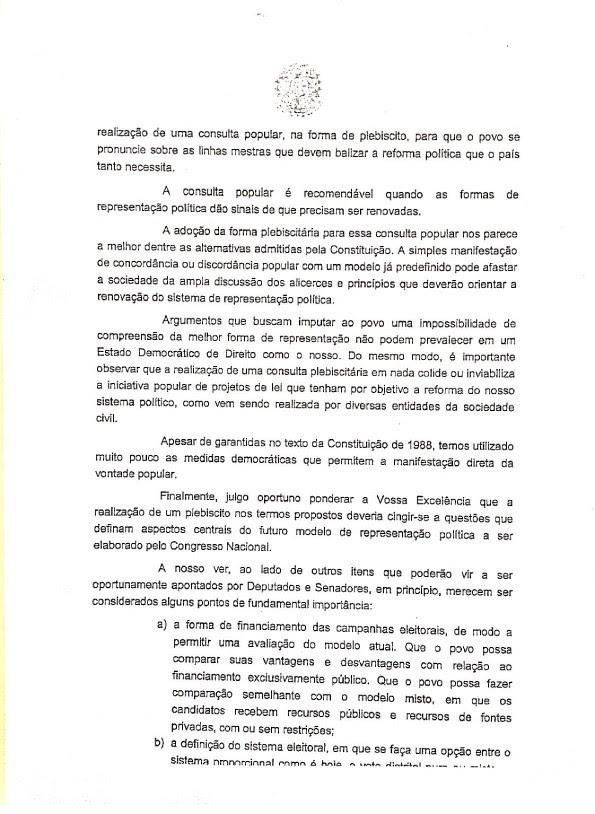 Mensagem de Dilma ao Congresso (segunda página) (Foto: Reprodução)