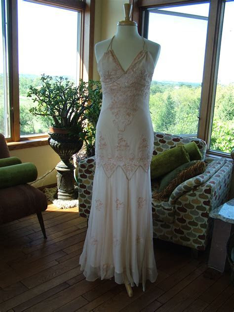 1920s 1930s Ivory Beaded Wedding Dress Evening Gown   Very