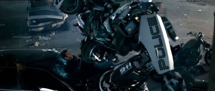 Barricade about to molest Sam Witwicky in last year's TRANSFORMERS.