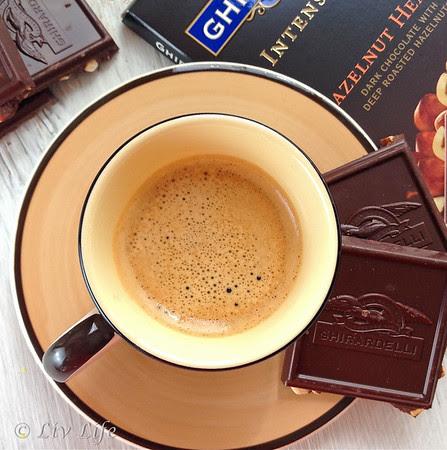 Ghirardelli Intense Dark Chocolate, shot of espresso