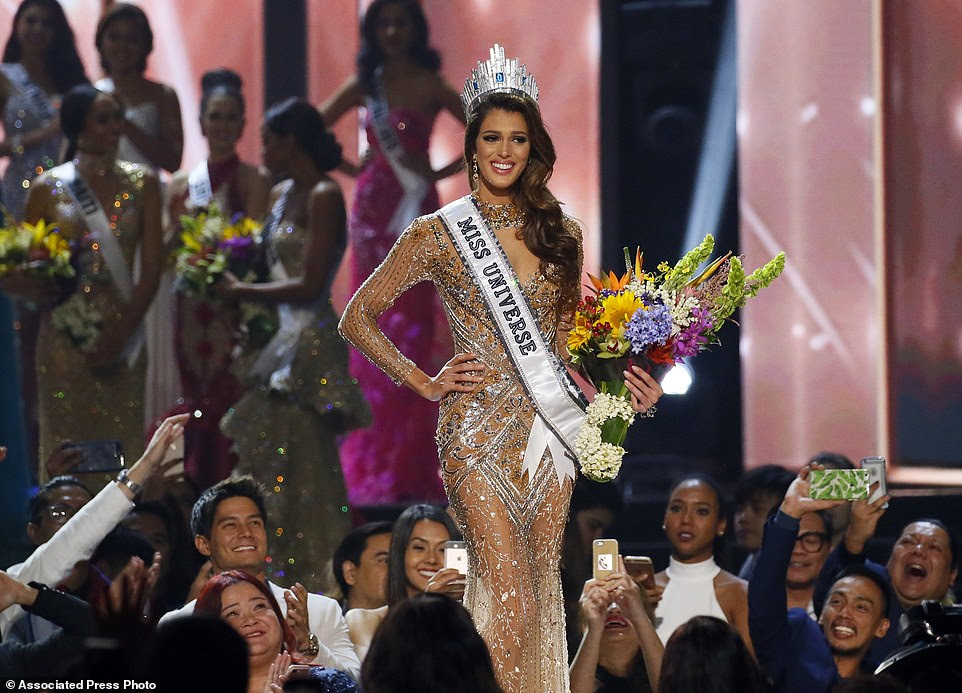 Iris Mittenaere of France reacts shortly after being proclaimed the new Miss Universe 2016