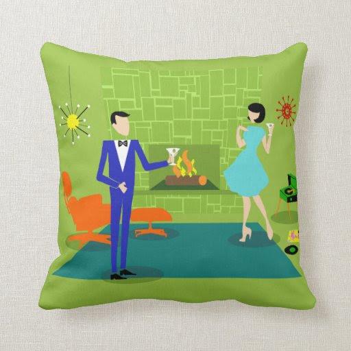 Mid Century Modern Couple Throw Pillow | Zazzle
