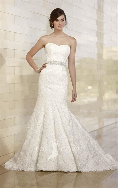 Lace trumpet strapless wedding dress with off the shoulder