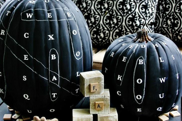 DIY Chalkboard Word Find Pumpkin   Shelterness