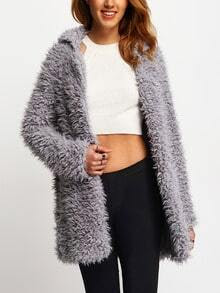 Grey Casual Lapel Faux Fur Coat