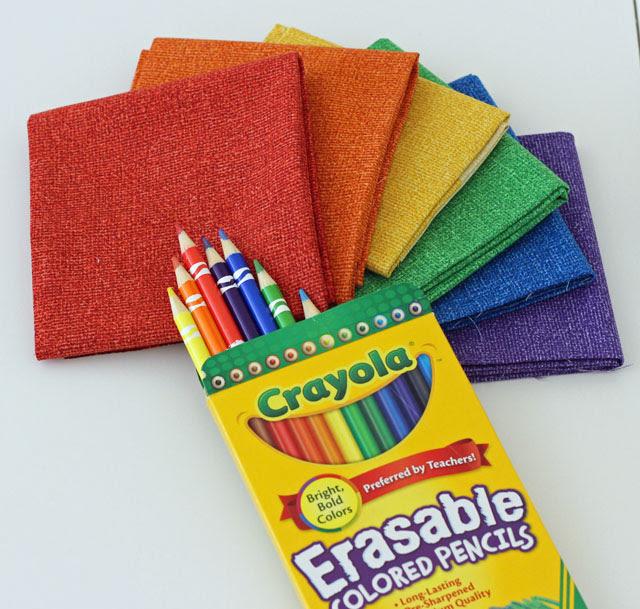burlap bright crayons