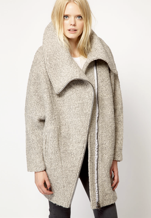 LE FASHION BLOG COLLECTION CRUSH FALL PIECES ASOS JUST FEMALE BLONDE MODEL OVERSIZED OATMEAL WOOL COAT WITH ZIPPERS GREY GRAY DENIM SKINNY JEANS 1