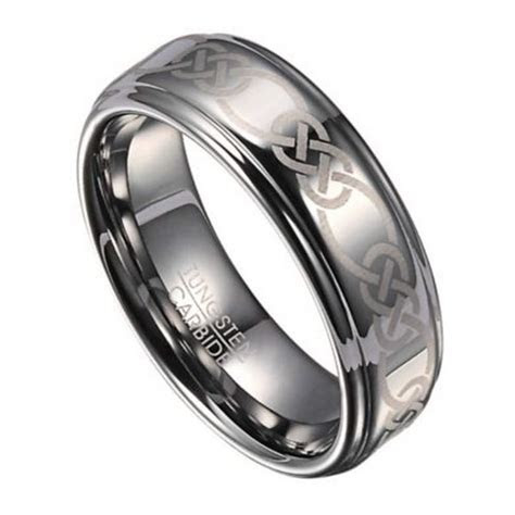 8mm Celtic Knot Men's Tungsten Wedding Band with Polished