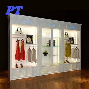 Ladies Antique Clothing Wall Display Cabinet Clothes Shop Design