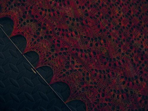 Swallowtail shawl detail