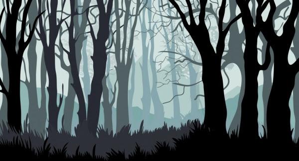 Hutan Latar Belakang Pohon-pohon Tumbuhan Ikon Kartun